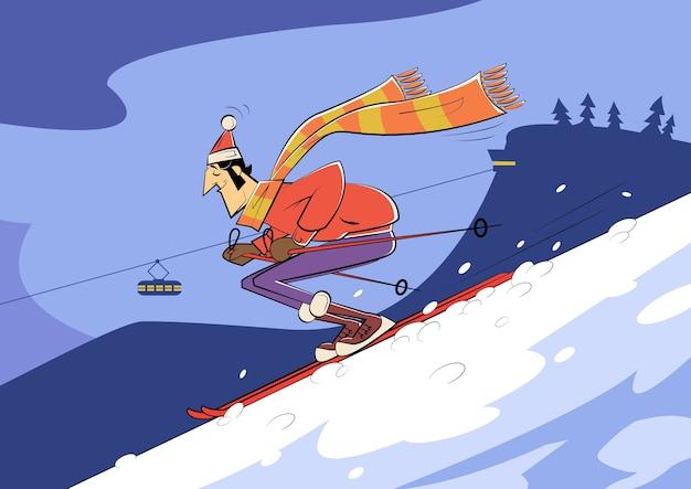 Sciatore del fumetto che guida giù per la montagna. stile di schizzo
