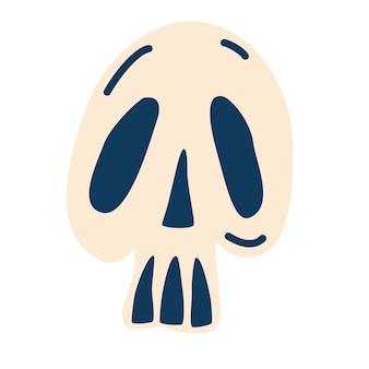 Cranio del fumetto. cranio umano di vettore. progettazione per halloween. per tatuaggio, tessuto, stampa per magliette e borse, carte. illustrazione di vettore del fumetto piatto.