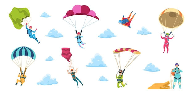 Illustrazione di paracadutisti del fumetto Vettore Premium