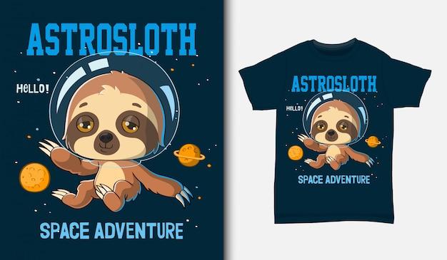 Cartoon bradipo astronauta, con design t-shirt, disegnato a mano