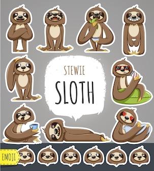 Personaggio dei cartoni animati di bradipo. emoticon adesivi con diverse emozioni. illustrazione vettoriale.
