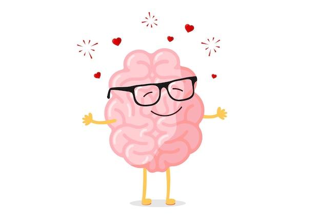 Il carattere intelligente del cervello felice dei cartoni animati con gli occhiali si innamora illustrazione vettoriale divertente della mascotte romantica dell'organo del sistema nervoso centrale