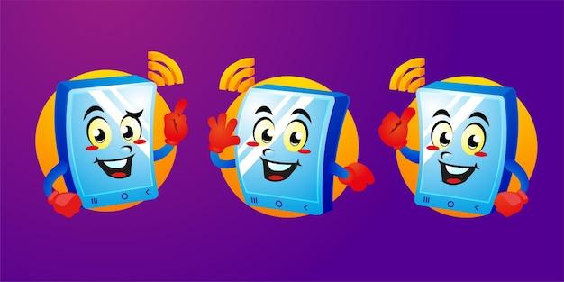 Cartoon smartphone gadget mascotte design
