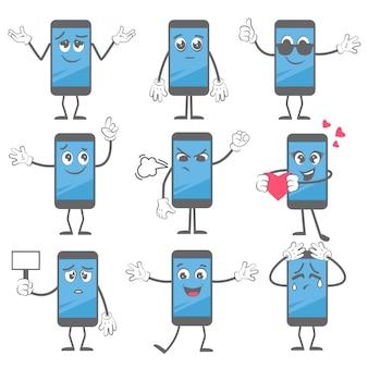 Smartphone del fumetto. l'azione della mascotte del telefono cellulare posa con le mani e le gambe nell'immagine del personaggio della compressa degli stivali.