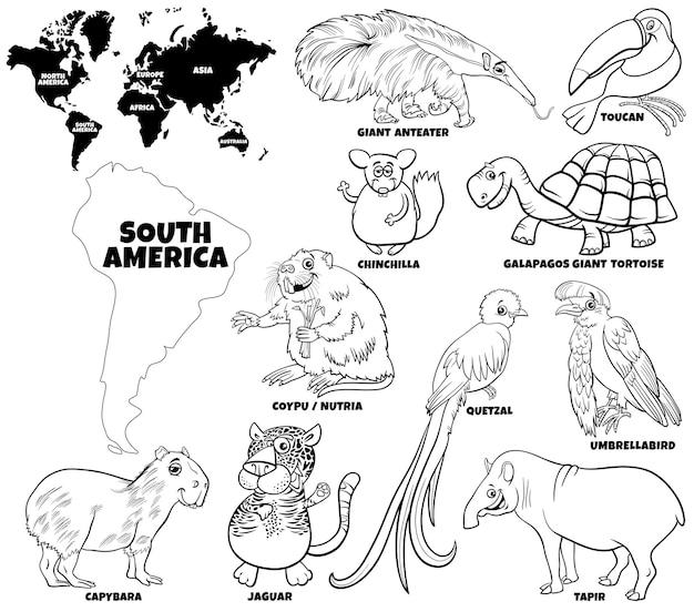 Set di personaggi animali sudamericani dei cartoni animati e mappa del mondo