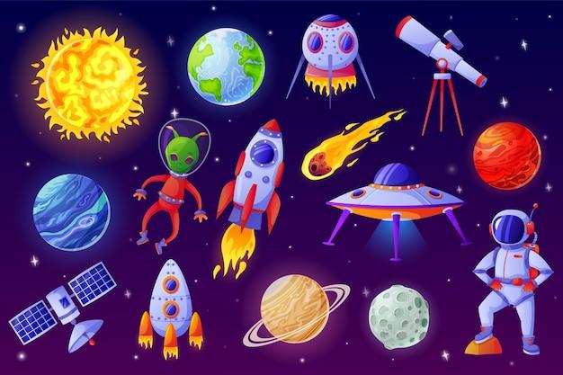 Elementi spaziali dei cartoni animati insieme vettoriale di telescopio satellitare asteroide astronauta razzo astronave ufo aliena