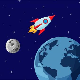Cartone animato razzo spaziale lasciando l'orbita terrestre e andando nello spazio profondo.