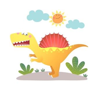 Cartone animato spinosaurus dinosauro su bianco