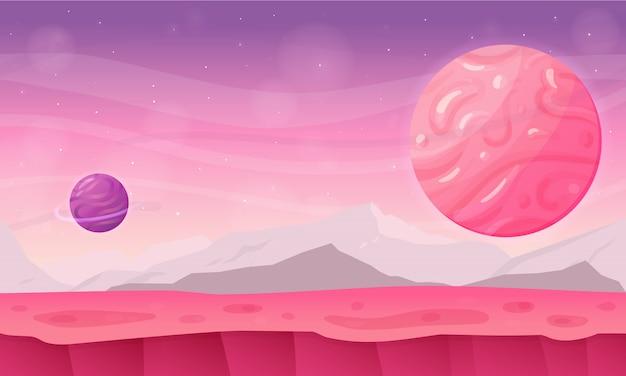Cartone animato paesaggio primaverile come sfondo del gioco