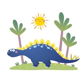 Cartone animato stegosaurus dinosauro su bianco
