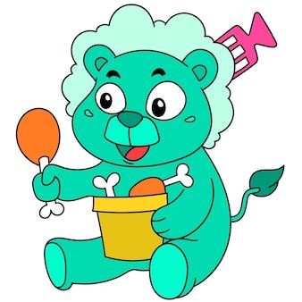 Adesivo cartone animato di un leone che si gode una coscia di pollo fritta, un simpatico personaggio doodle disegnato. illustrazione vettoriale