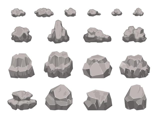 Pietre di cartone animato, rocce, massi, macerie e pezzi di ghiaia. materiale da costruzione in granito naturale. detriti di roccia, insieme di vettore di elementi del paesaggio. blocco di montagna, parte di ghiaia isolata su bianco