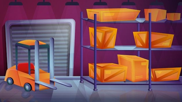 Magazzino del fumetto con le scatole e il caricatore, illustrazione