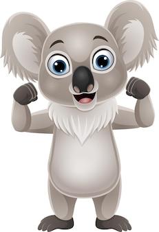 Koala forte del fumetto isolato su bianco