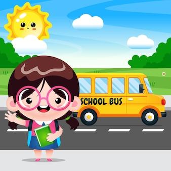 Cartone animato studente ragazza e autobus scuola trasporto
