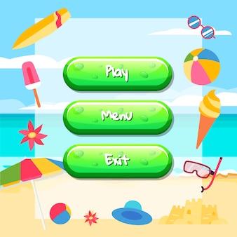Pulsanti di stile del fumetto con testo per game design sulla spiaggia con gelato, tavola da surf, palla.
