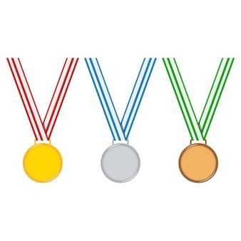 Set di medaglie campione in stile cartone animato isolato su sfondo bianco dorato, argento, medaglia di bronzo con nastro rosso, blu, verde spogliato.