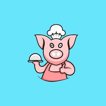Illustrazione del carattere del maiale dello chef in stile cartone animato