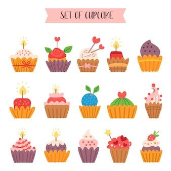 Collezione in stile cartone animato di cupcakes dolci
