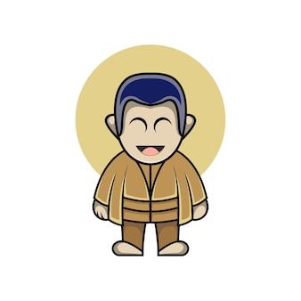Illustrazione di un ragazzo carino in stile cartone animato