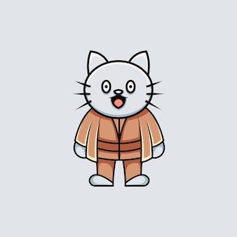 Illustrazione del maestro del gatto carino in stile cartone animato