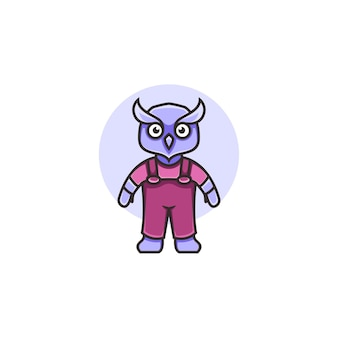Illustrazione di un simpatico gufo in stile cartone animato