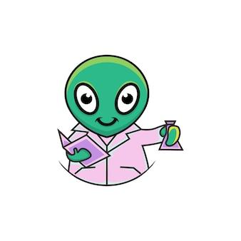 Illustrazione di alieno scienziato carino in stile cartone animato