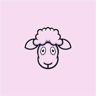 Illustrazione di pecora carina in stile cartone animato