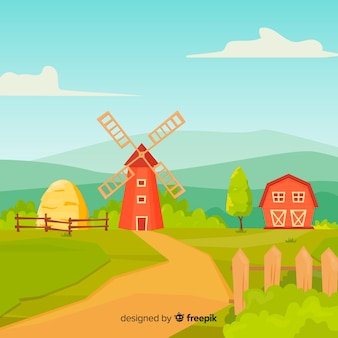 Fondo del paesaggio dell'azienda agricola di stile del fumetto