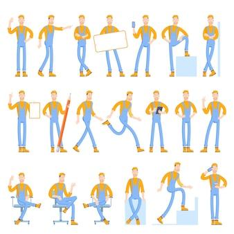 Set di caratteri di un giovane corriere piatto vettoriale in stile cartone animato con vari gesti e gesti di pose