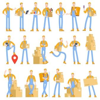 Set di caratteri di un giovane corriere piatto vettoriale in stile cartone animato con vari gesti e gesti di pose Vettore Premium