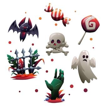 Collezione di oggetti di halloween in stile cartone animato