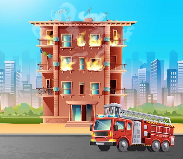 Illustrazione in stile cartone animato di edificio in fiamme con auto dei vigili del fuoco davanti per salvare.