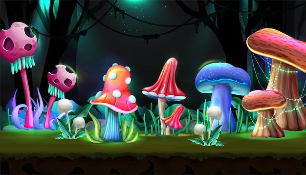 Foresta magica in stile cartone animato con funghi che brillano di notte