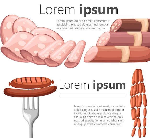 Prodotti a base di carne in stile cartone animato. illustrazione diversi tipi di fette e salsiccia. presentazione di prodotti a base di carne per bar e ristoranti. su sfondo bianco.