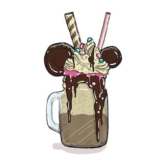 Frappè in stile cartone animato con biscotti, cioccolato, gelato e caramelle. dessert creativo disegnato a mano
