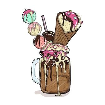 Frappè in stile cartone animato con biscotti, dolci al cioccolato e gelati. dessert creativo disegnato a mano