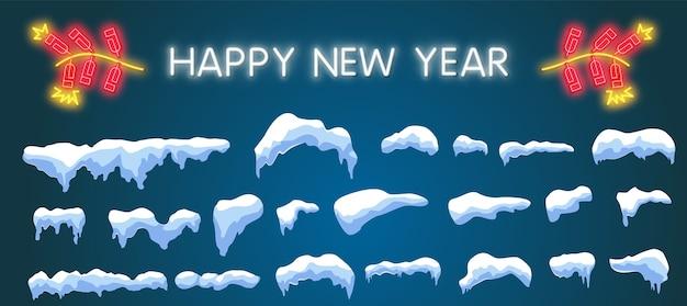 Set di berretti da neve in stile cartone animato, palle di neve e cumuli di neve. elemento di decorazione invernale. illustrazione Vettore Premium