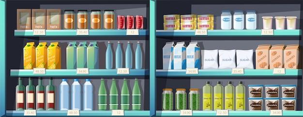 Scaffali del supermercato in stile cartone animato con cibo e bevande