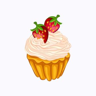 Cupcake alla vaniglia in stile cartone animato con panna montata e icona di vettore di fragola.