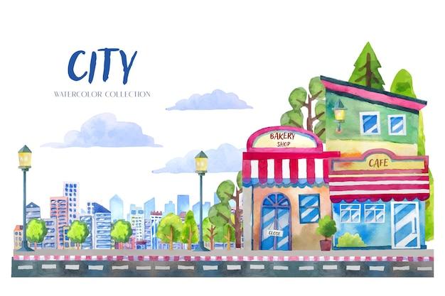 Dipinti di paesaggio ad acquerello in stile cartone animato di città, bar e negozio di panetteria con nuvole, alberi decorativi ed edifici dettagliati sullo sfondo.