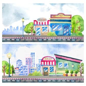Dipinti di paesaggi ad acquerello in stile cartone animato della città e negozio con alberi decorativi ed edifici sullo sfondo.