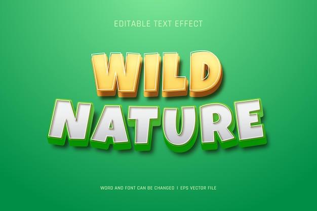 Effetto di testo di natura selvaggia in stile cartone animato