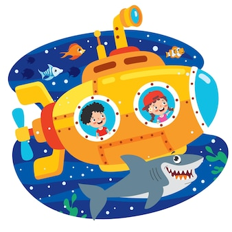 Sottomarino del fumetto sotto il mare