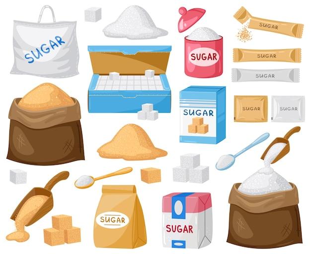 Zucchero del fumetto. zucchero a cubetti, zucchero semolato e cristallino, zucchero in sacchetti di tela e set di confezioni di cartone