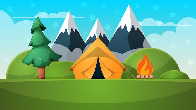Cartone animato paesaggio estivo. tenda, fuoco, illustrazione di montagna.