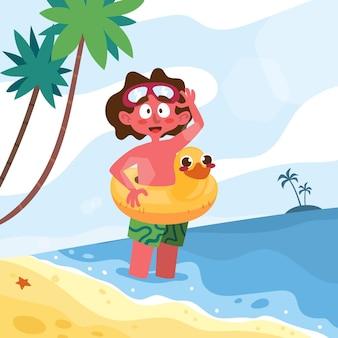 Scene estive dei cartoni animati Vettore Premium
