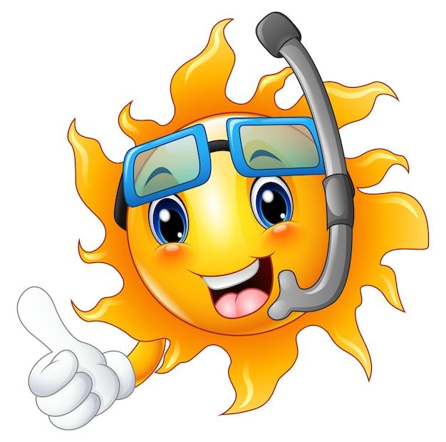 Carattere del sole del fumetto nella maschera di immersione che dà i pollici su