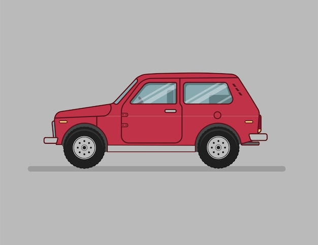 Macchina del suv del fumetto, automobile dell'icona piana, vista laterale automatica