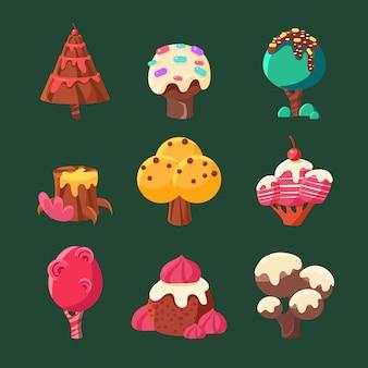 Collezione cartoon sweet candy land. illustrazione